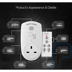 Pack (3 Pieces) Digoo RC-13 Smart Home RF Wireless Remote Control Socket Power Plug Controller UK 10A 2300W